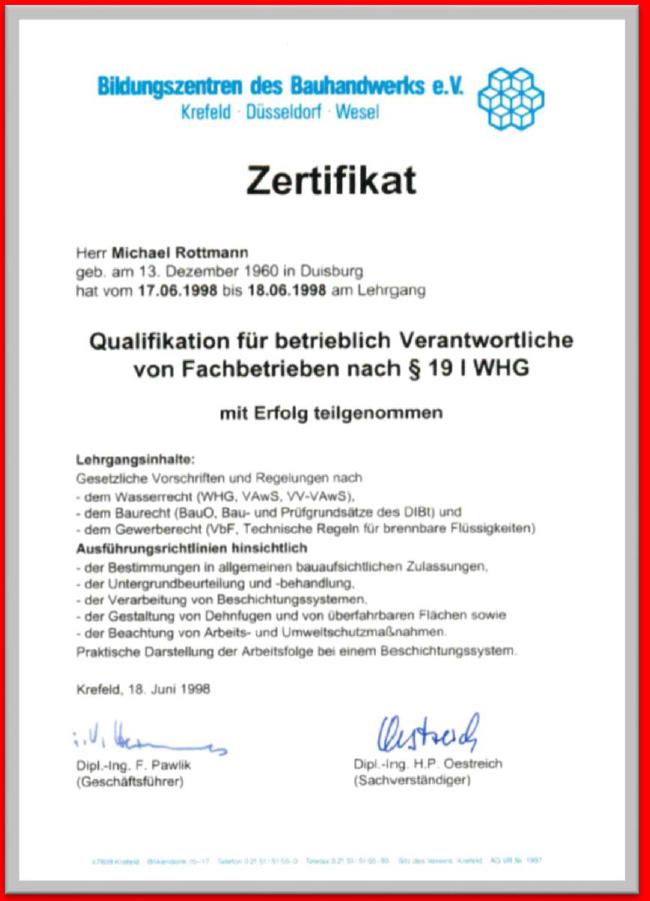 MBI GmbH-Zertifikat WHG