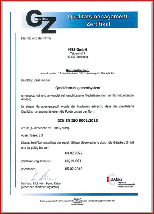 MBI GmbH-Zertifikat Qualitätsmanagement