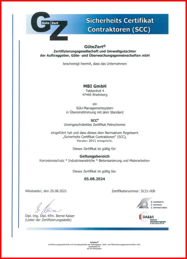 MBI Korrosionsschutz SCC Zertifikat